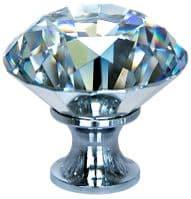 OVO® TEZ® Dali 40mm Clear Diamond Cut Crystal Knob Handle - Silver Glazed